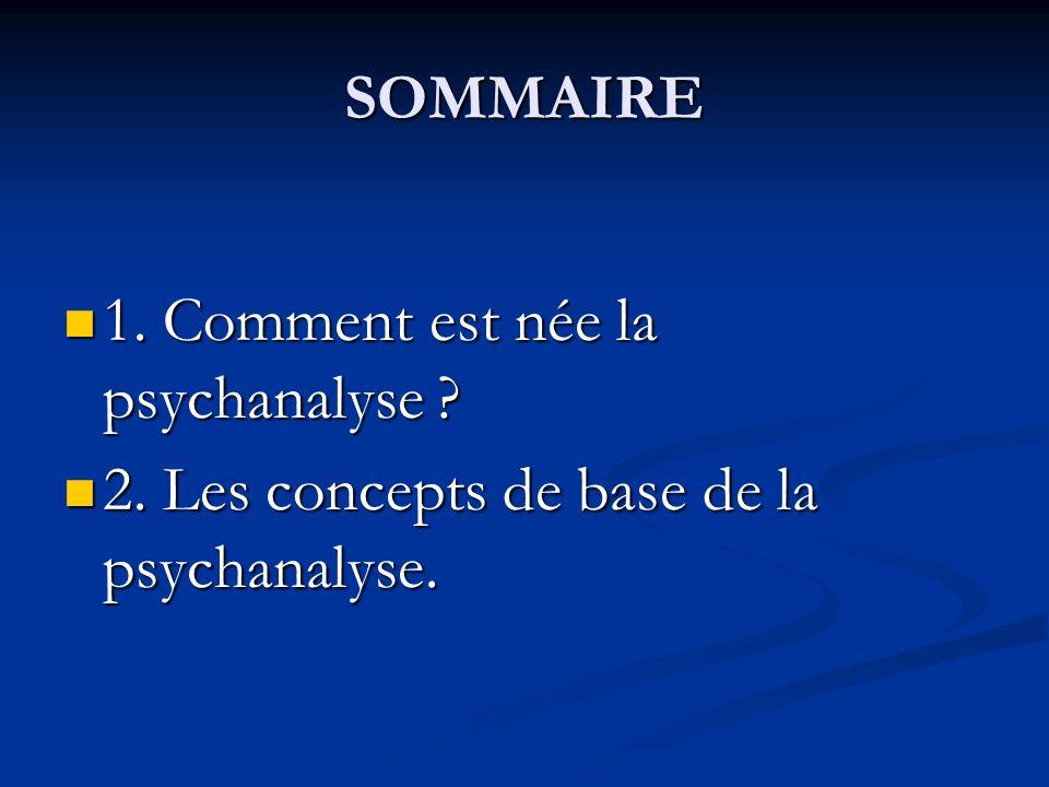 SOMMAIRE 1. Comment est née la psychanalyse 2. Les concepts de base de la psychanalyse.