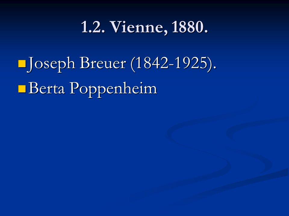 1.2. Vienne, 1880. Joseph Breuer (1842-1925). Berta Poppenheim