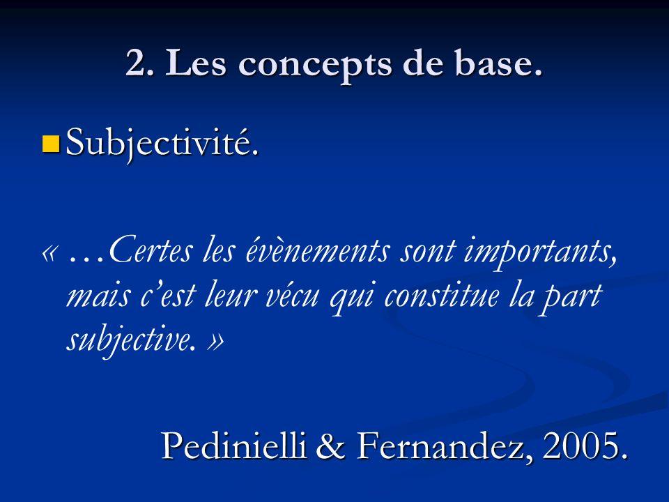 2. Les concepts de base. Subjectivité. « …Certes les évènements sont importants, mais c'est leur vécu qui constitue la part subjective. »