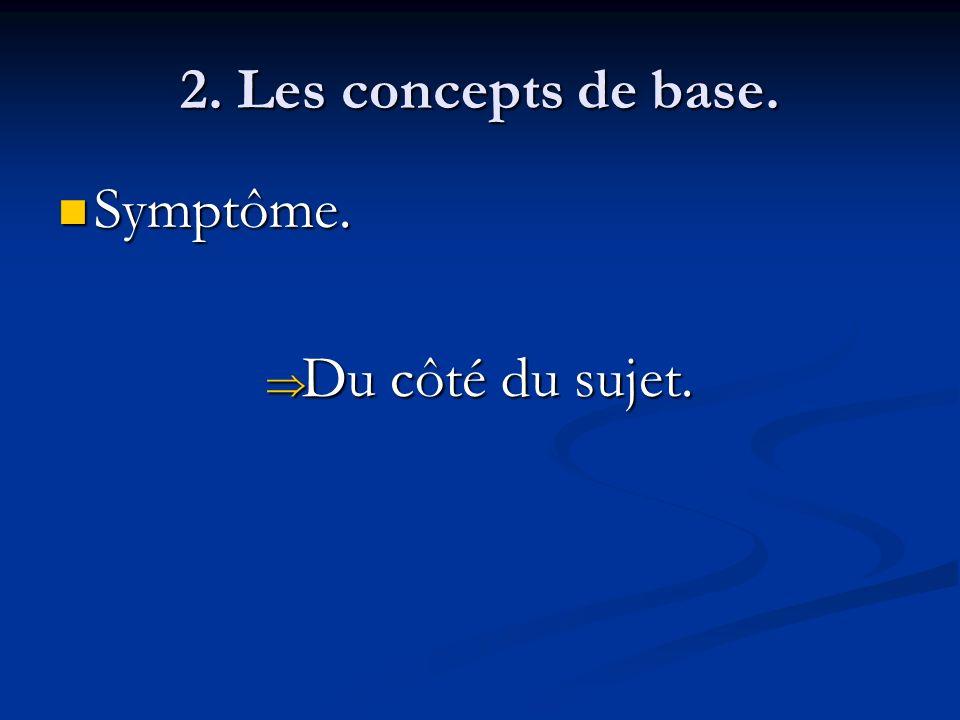 2. Les concepts de base. Symptôme. Du côté du sujet.