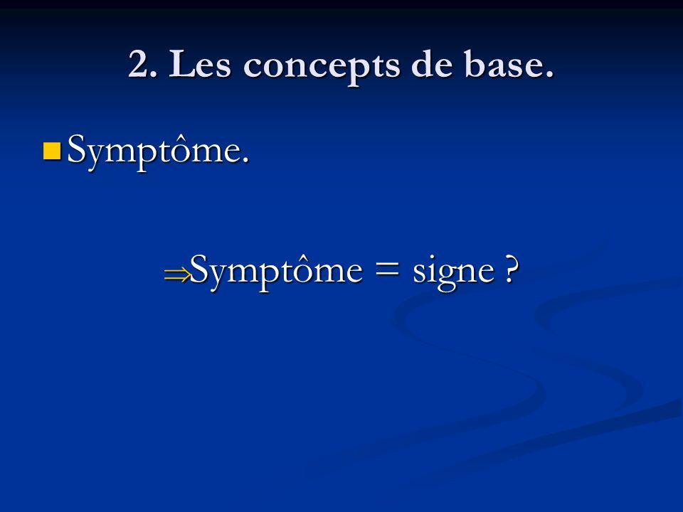 2. Les concepts de base. Symptôme. Symptôme = signe