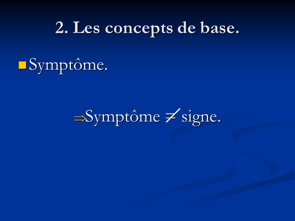 2. Les concepts de base. Symptôme. Symptôme = signe.