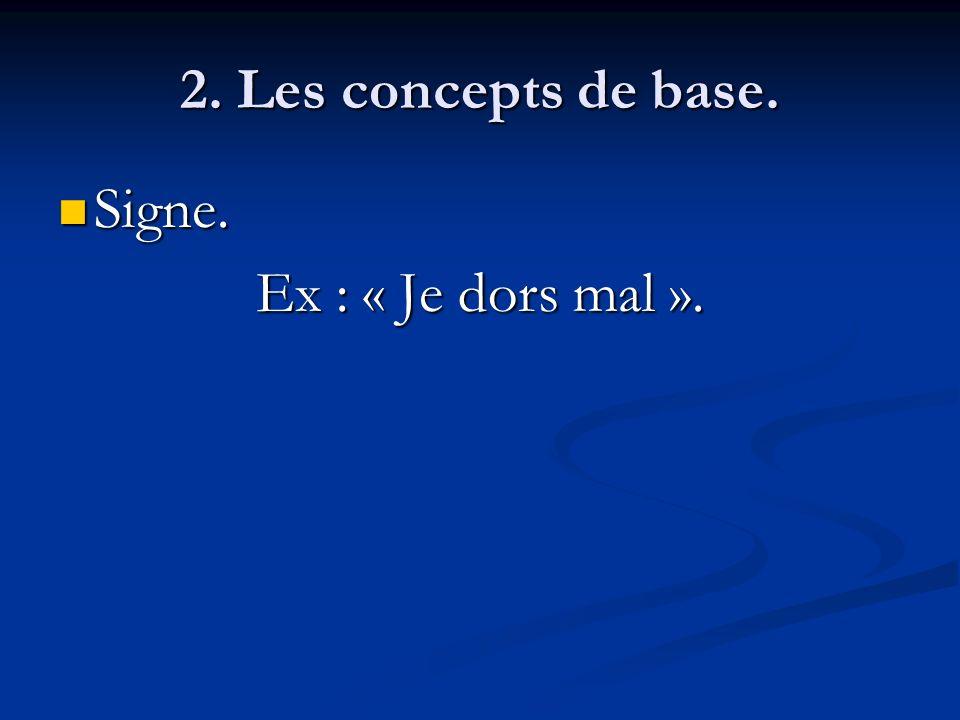 2. Les concepts de base. Signe. Ex : « Je dors mal ».