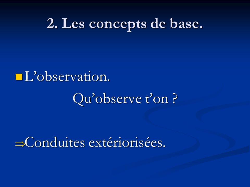 2. Les concepts de base. L'observation. Qu'observe t'on Conduites extériorisées.