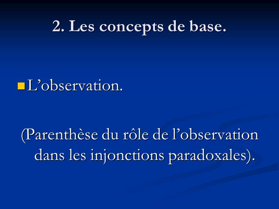 2. Les concepts de base. L'observation.