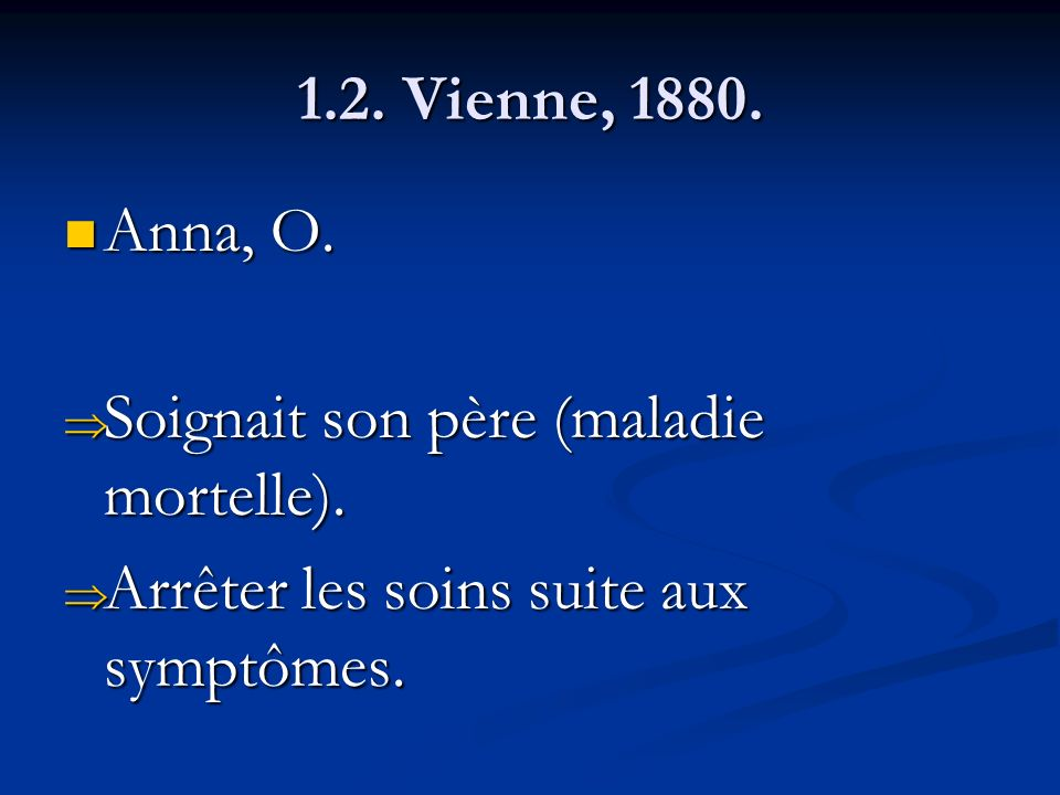 1.2. Vienne, 1880. Anna, O. Soignait son père (maladie mortelle).