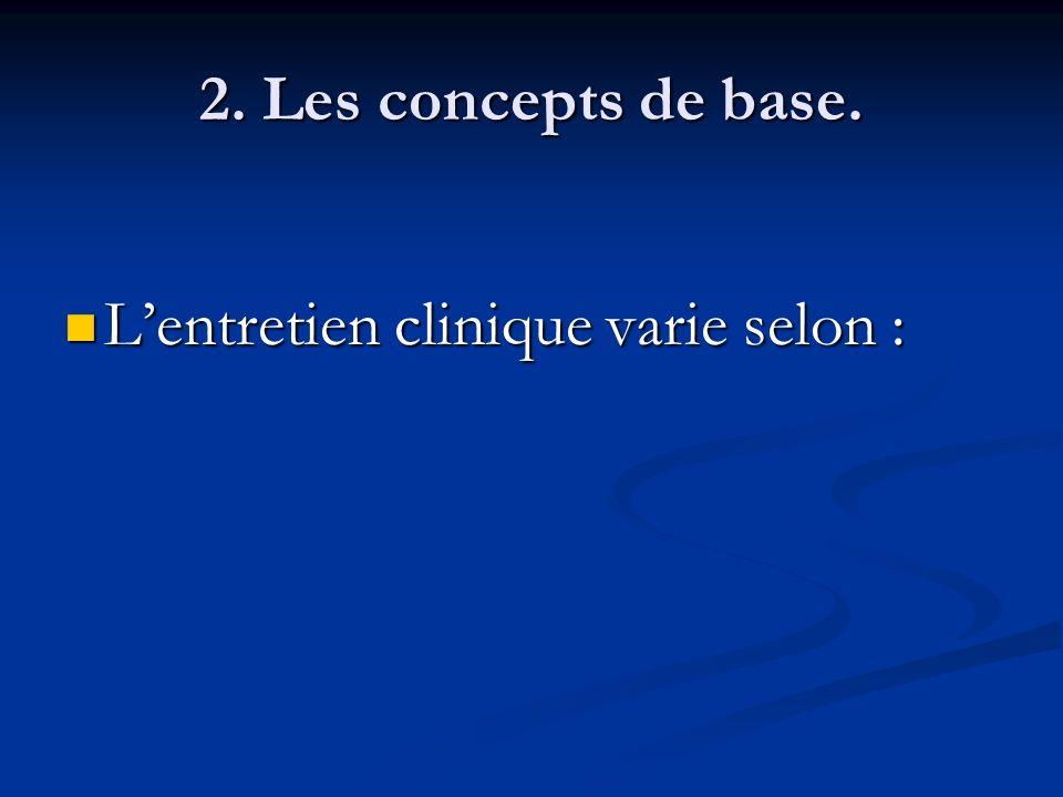 2. Les concepts de base. L'entretien clinique varie selon :