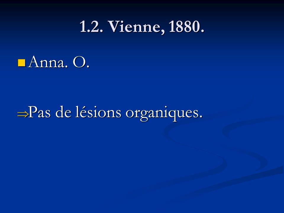 1.2. Vienne, 1880. Anna. O. Pas de lésions organiques.