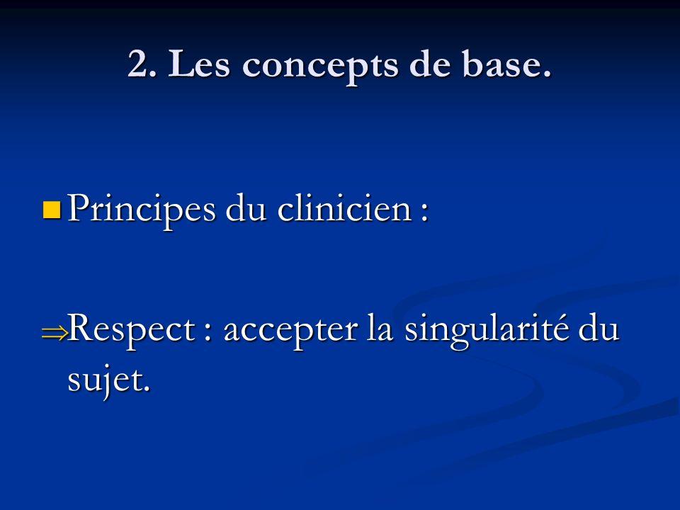 2. Les concepts de base. Principes du clinicien : Respect : accepter la singularité du sujet.