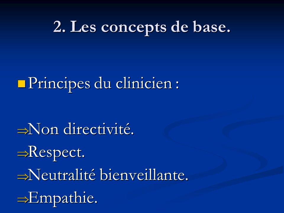 2. Les concepts de base. Principes du clinicien : Non directivité. Respect. Neutralité bienveillante.