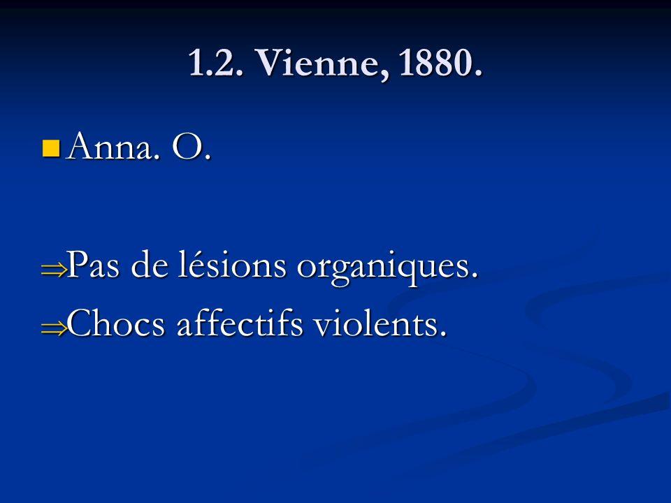 1.2. Vienne, 1880. Anna. O. Pas de lésions organiques. Chocs affectifs violents.