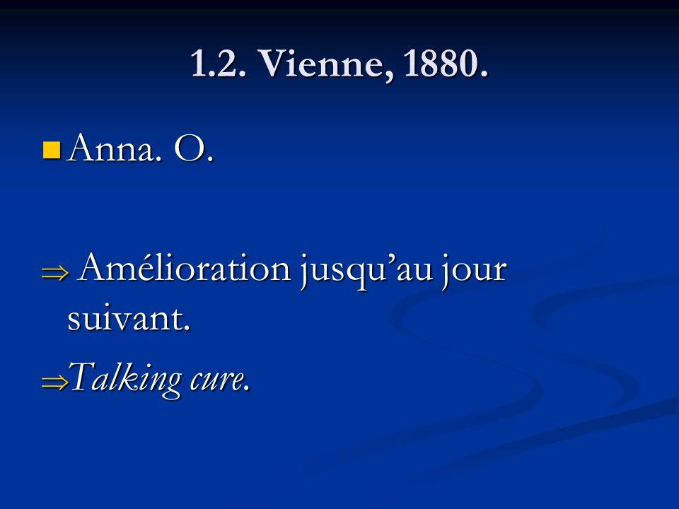 1.2. Vienne, 1880. Anna. O. Amélioration jusqu'au jour suivant. Talking cure.
