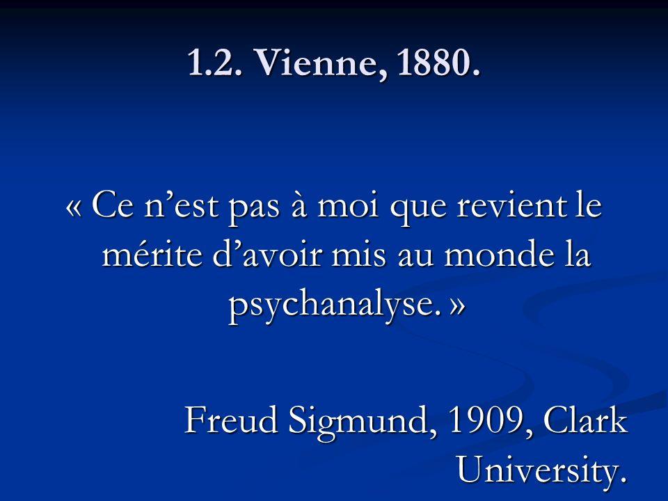 1.2. Vienne, 1880. « Ce n'est pas à moi que revient le mérite d'avoir mis au monde la psychanalyse. »
