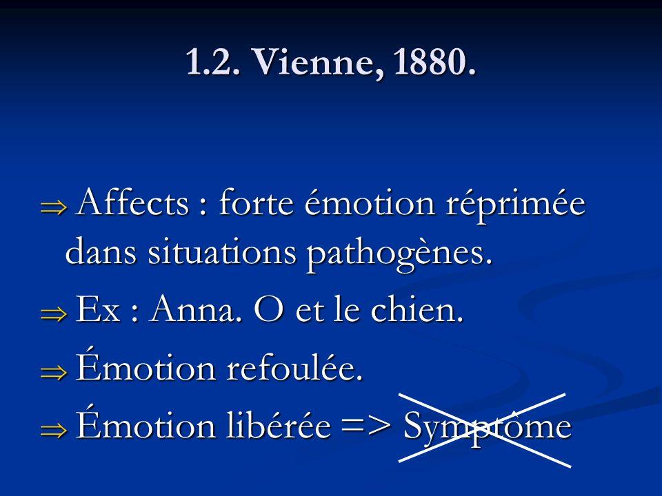 1.2. Vienne, 1880. Affects : forte émotion réprimée dans situations pathogènes. Ex : Anna. O et le chien.