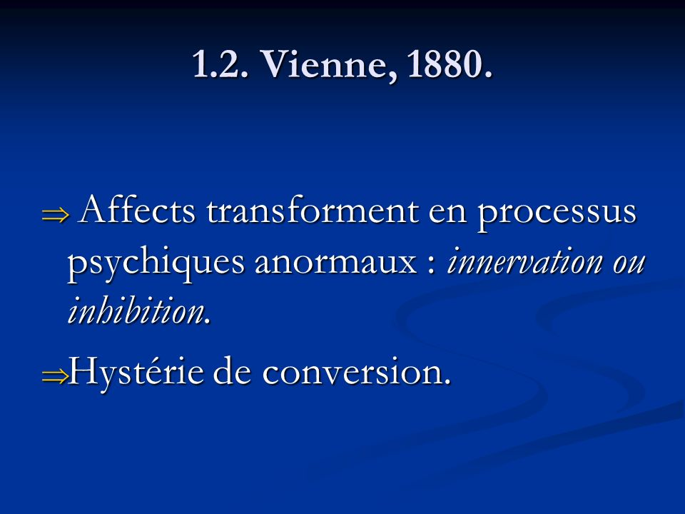 1.2. Vienne, 1880. Affects transforment en processus psychiques anormaux : innervation ou inhibition.