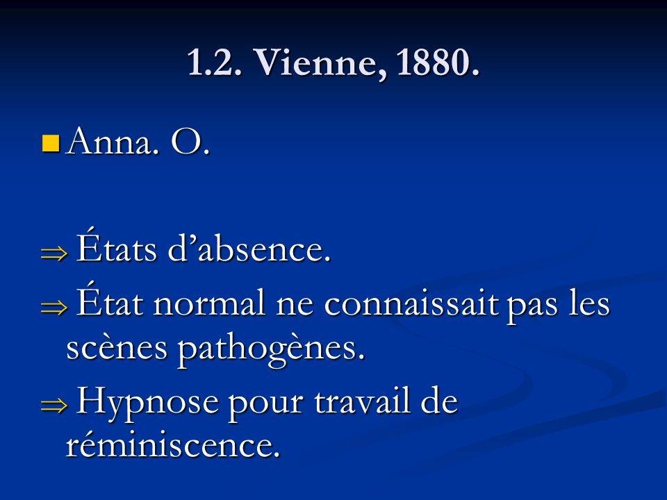 1.2. Vienne, 1880. Anna. O. États d'absence. État normal ne connaissait pas les scènes pathogènes.
