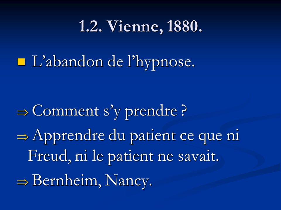 1.2. Vienne, 1880. L'abandon de l'hypnose. Comment s'y prendre Apprendre du patient ce que ni Freud, ni le patient ne savait.