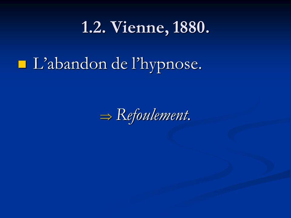 1.2. Vienne, 1880. L'abandon de l'hypnose. Refoulement.