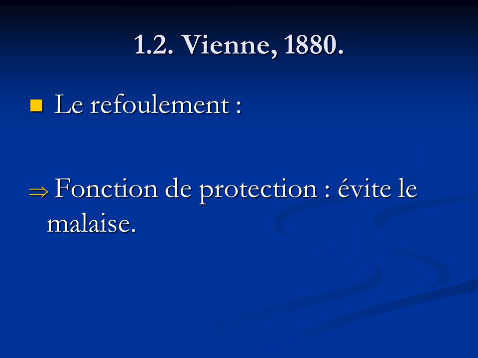 1.2. Vienne, 1880. Le refoulement : Fonction de protection : évite le malaise.