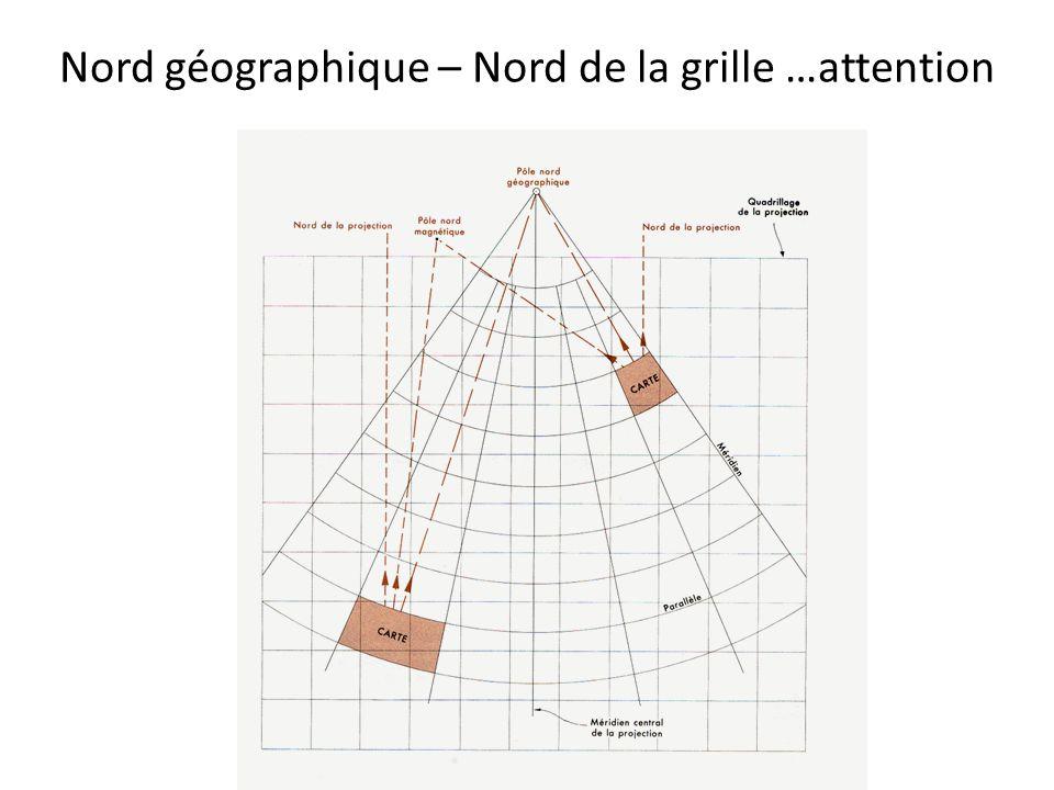 Nord géographique – Nord de la grille …attention