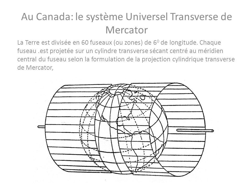 Au Canada: le système Universel Transverse de Mercator