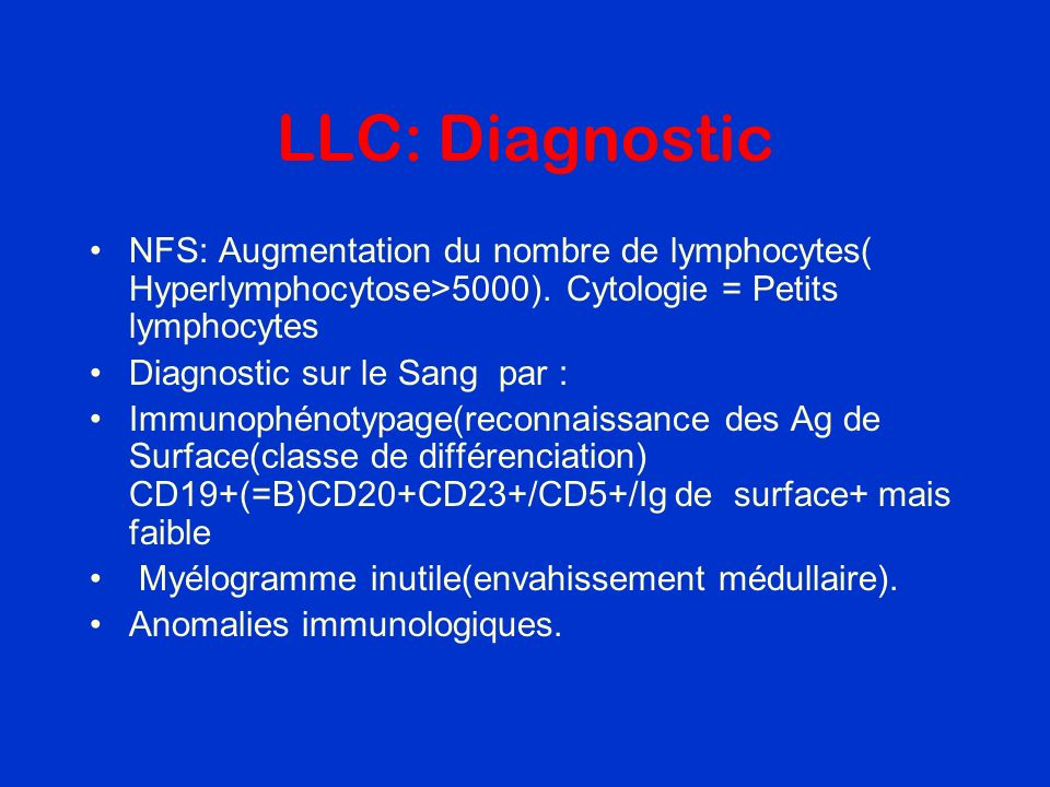LLC: Diagnostic NFS: Augmentation du nombre de lymphocytes( Hyperlymphocytose>5000). Cytologie = Petits lymphocytes.