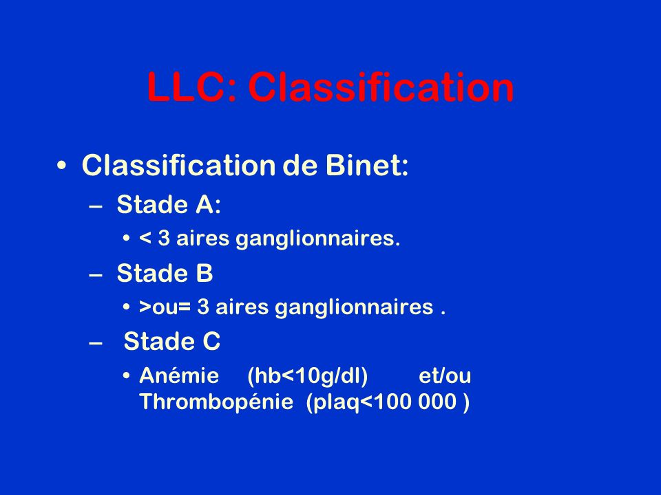 LLC: Classification Classification de Binet: Stade A: Stade B Stade C