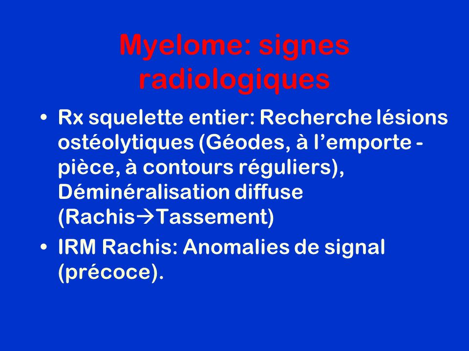 Myelome: signes radiologiques