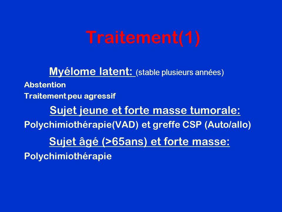 Traitement(1) Myélome latent: (stable plusieurs années)