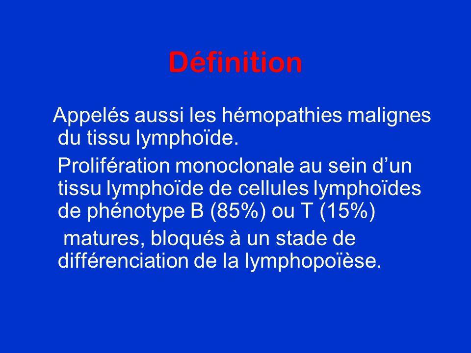 Définition Appelés aussi les hémopathies malignes du tissu lymphoïde.