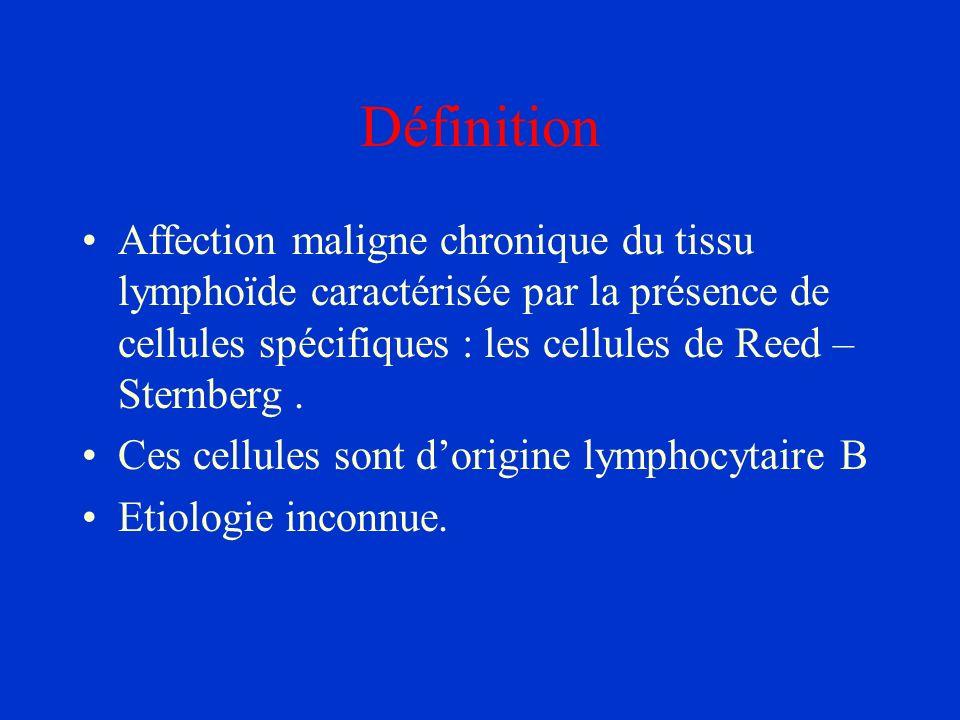 DéfinitionAffection maligne chronique du tissu lymphoïde caractérisée par la présence de cellules spécifiques : les cellules de Reed –Sternberg .
