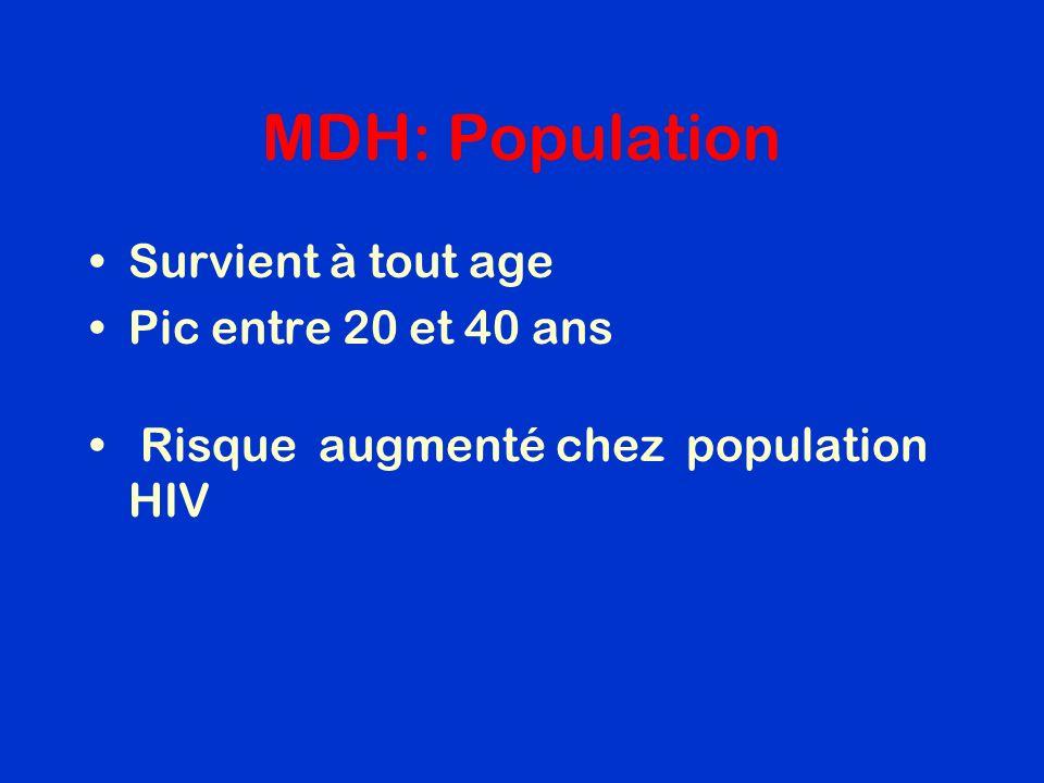 MDH: Population Survient à tout age Pic entre 20 et 40 ans