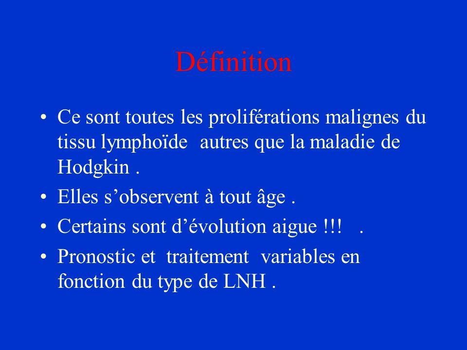 DéfinitionCe sont toutes les proliférations malignes du tissu lymphoïde autres que la maladie de Hodgkin .
