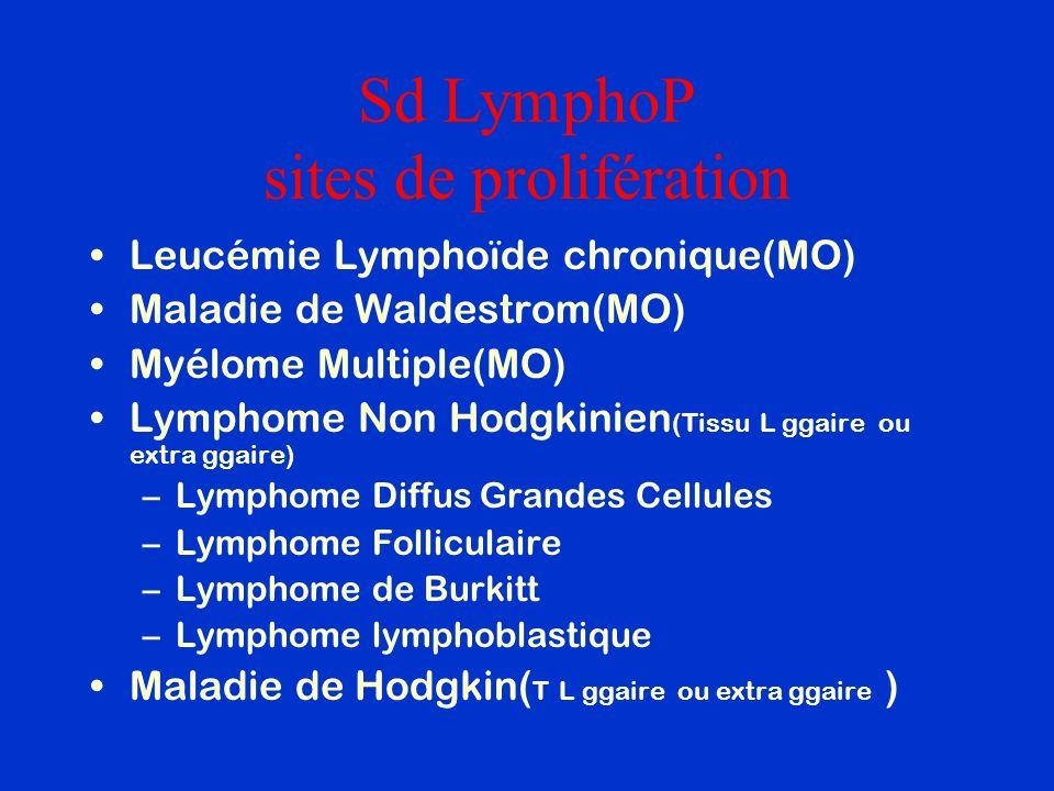 Sd LymphoP sites de prolifération