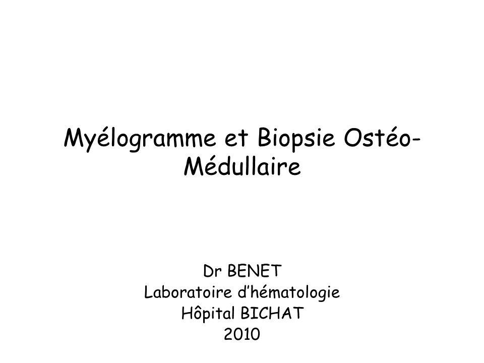 Myélogramme et Biopsie Ostéo-Médullaire
