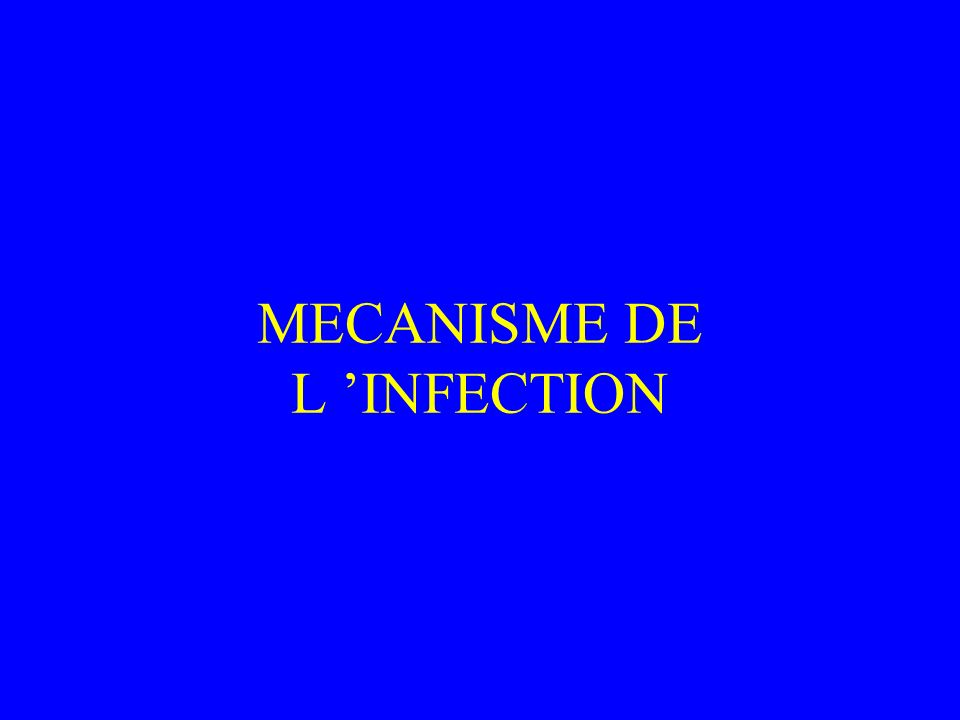 MECANISME DE L 'INFECTION