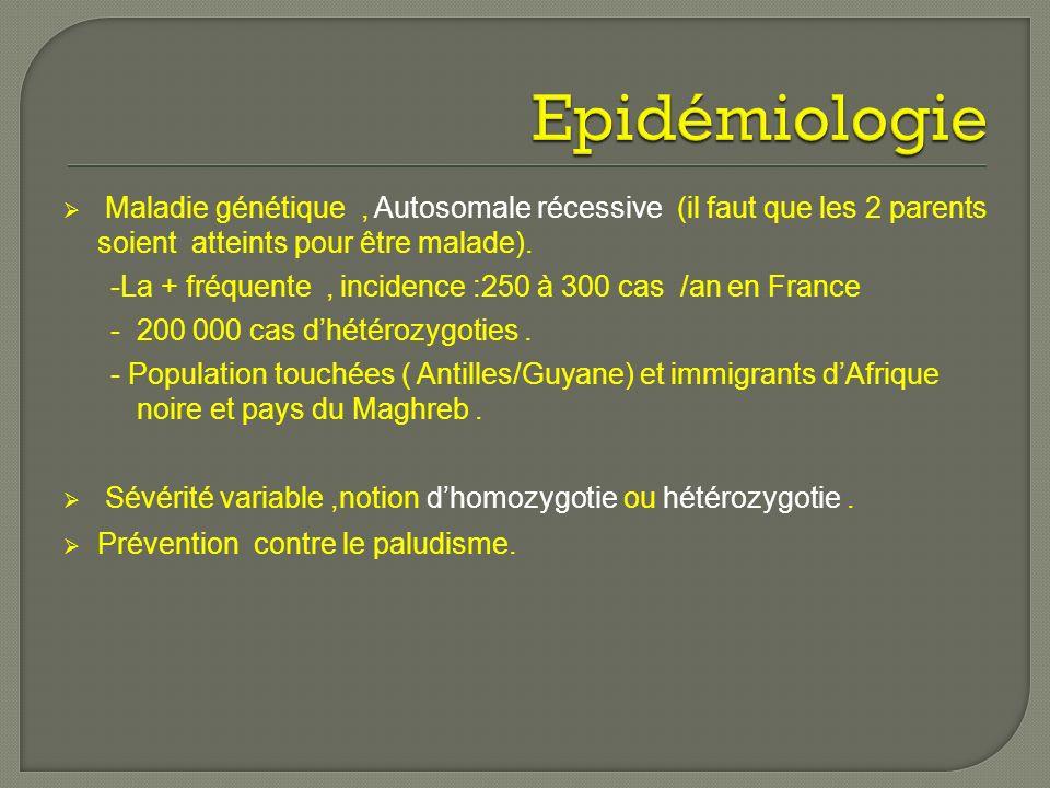 Epidémiologie Maladie génétique , Autosomale récessive (il faut que les 2 parents soient atteints pour être malade).