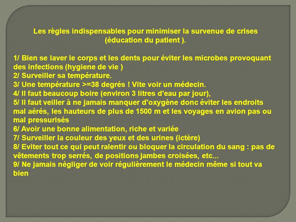 Les règles indispensables pour minimiser la survenue de crises (éducation du patient ).