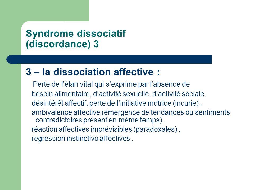 Syndrome dissociatif (discordance) 3