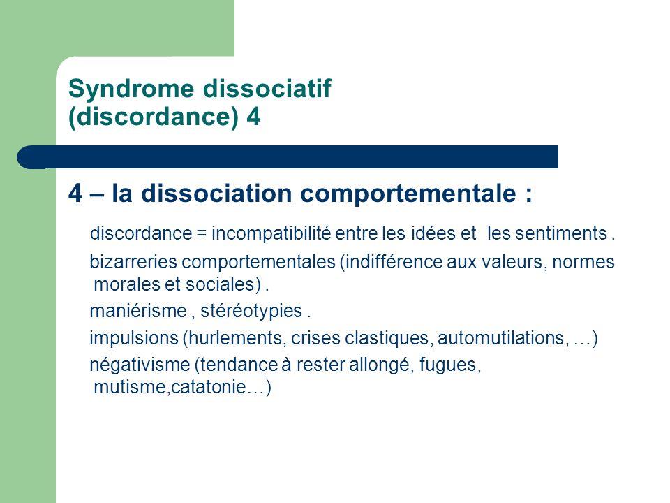 Syndrome dissociatif (discordance) 4