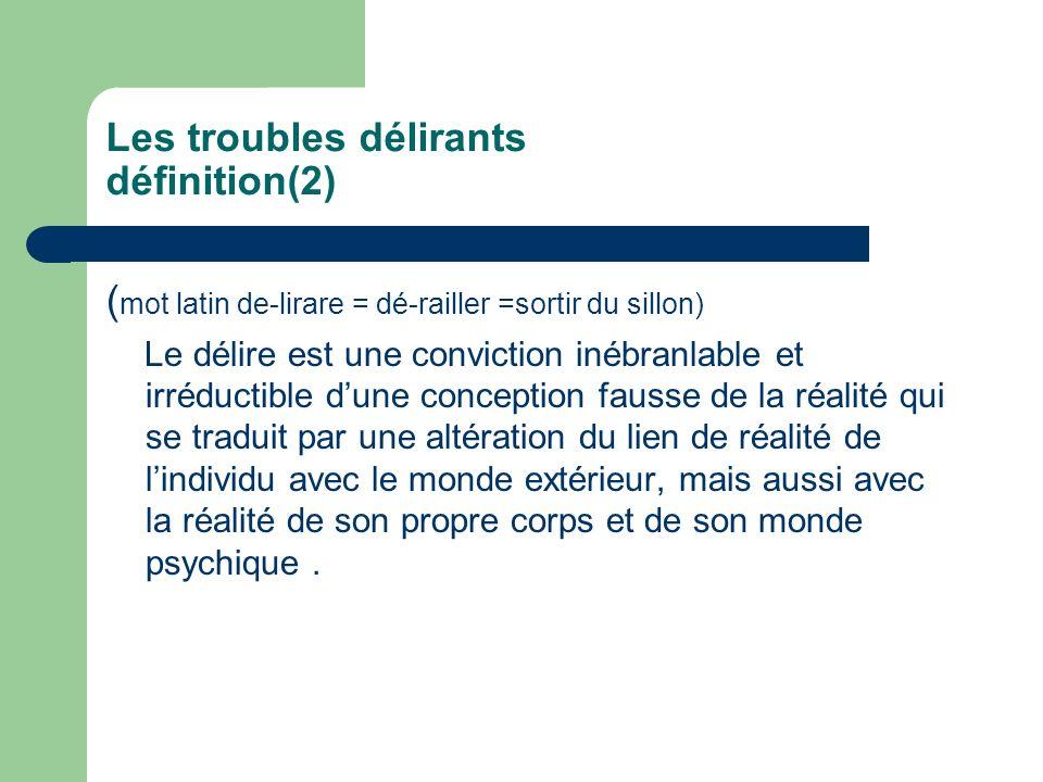 Les troubles délirants définition(2)