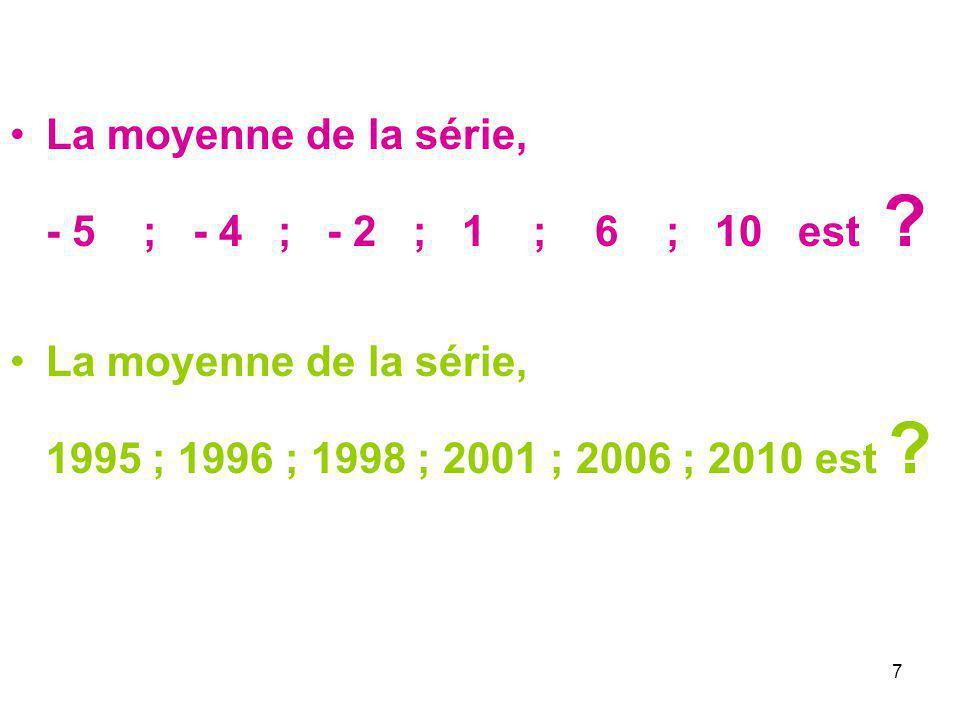 La moyenne de la série, - 5 ; - 4 ; - 2 ; 1 ; 6 ; 10 est .