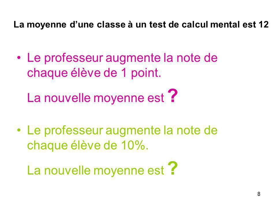 La moyenne d'une classe à un test de calcul mental est 12