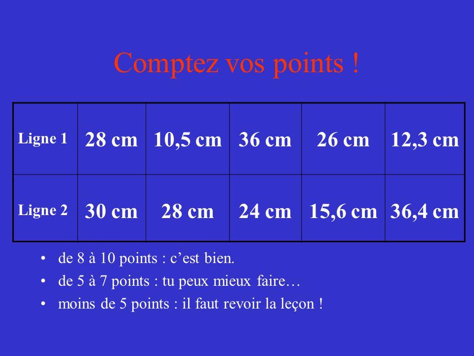 Comptez vos points ! 28 cm 10,5 cm 36 cm 26 cm 12,3 cm 30 cm 24 cm