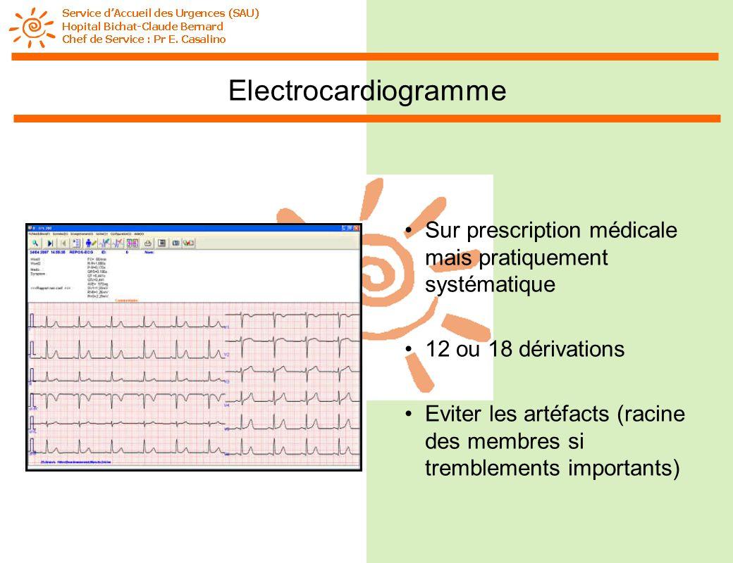 Electrocardiogramme Sur prescription médicale mais pratiquement systématique. 12 ou 18 dérivations.