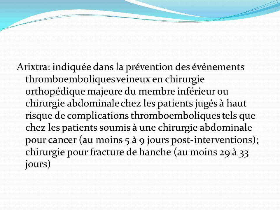 Arixtra: indiquée dans la prévention des événements thromboemboliques veineux en chirurgie orthopédique majeure du membre inférieur ou chirurgie abdominale chez les patients jugés à haut risque de complications thromboemboliques tels que chez les patients soumis à une chirurgie abdominale pour cancer (au moins 5 à 9 jours post-interventions); chirurgie pour fracture de hanche (au moins 29 à 33 jours)