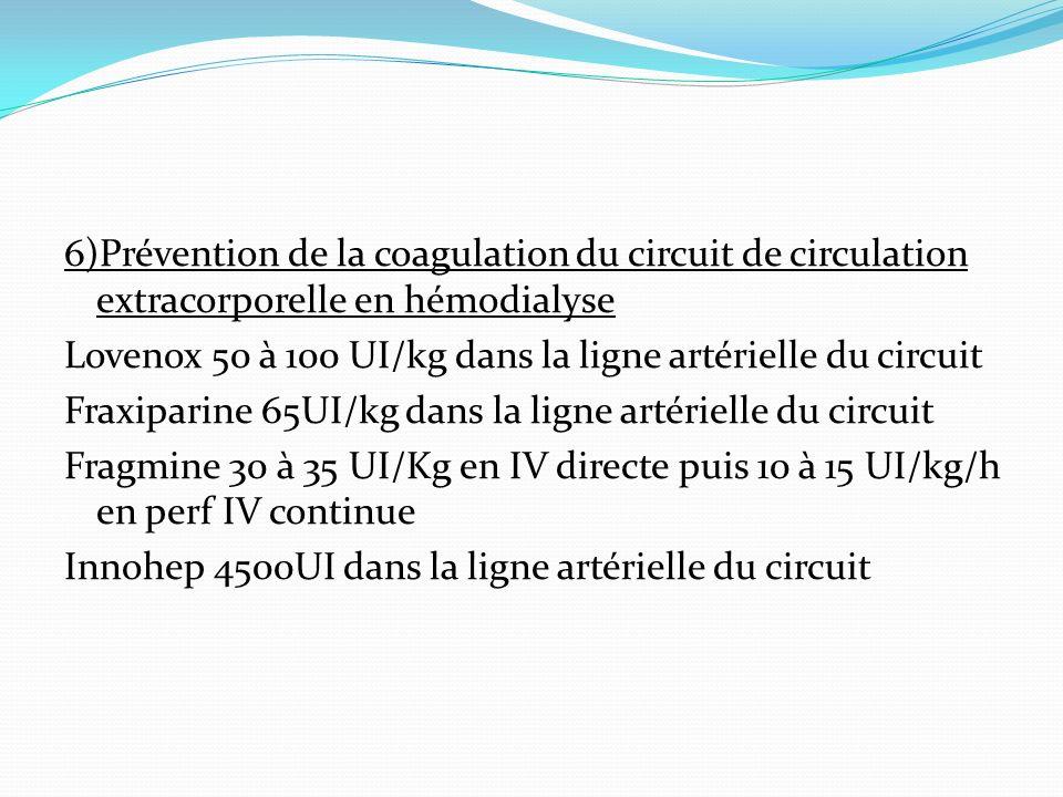 6)Prévention de la coagulation du circuit de circulation extracorporelle en hémodialyse Lovenox 50 à 100 UI/kg dans la ligne artérielle du circuit Fraxiparine 65UI/kg dans la ligne artérielle du circuit Fragmine 30 à 35 UI/Kg en IV directe puis 10 à 15 UI/kg/h en perf IV continue Innohep 4500UI dans la ligne artérielle du circuit