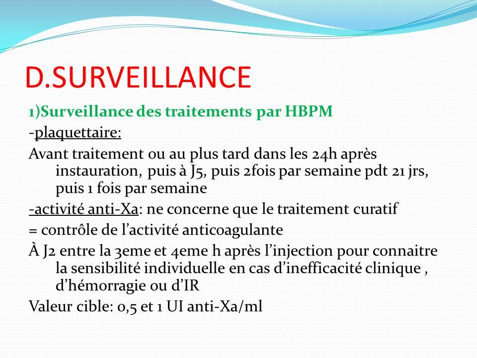 D.SURVEILLANCE 1)Surveillance des traitements par HBPM -plaquettaire: