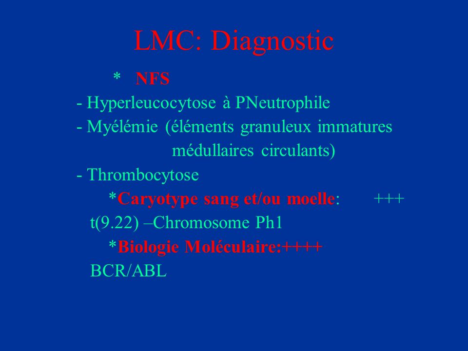 LMC: Diagnostic * NFS - Hyperleucocytose à PNeutrophile