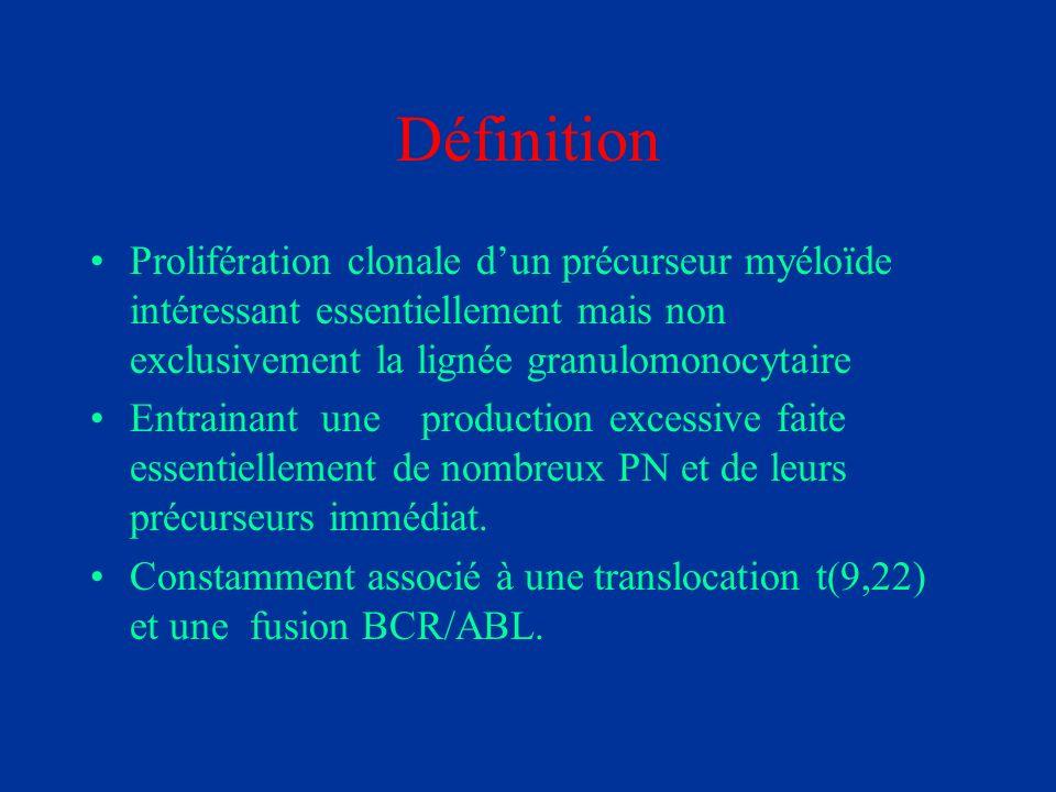 Définition Prolifération clonale d'un précurseur myéloïde intéressant essentiellement mais non exclusivement la lignée granulomonocytaire.